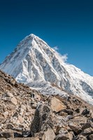 Trekkers on a trail with Mt Pumori in background Fine-Art Print