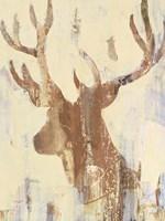 Golden Antlers II Neutral Grey Fine-Art Print