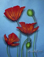 Red Poppies on Blue Fine-Art Print
