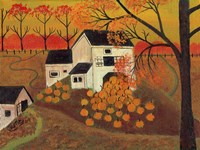 Pumpkin Barn Autumn Folk Art Fine-Art Print