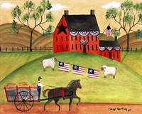 Primitive Americana Sheep with Horse and Wagon Fine-Art Print