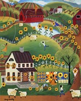 Primitive Quilt Maker House Sunflower Sheep Fine-Art Print