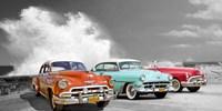 Cars in Avenida de Maceo, Havana, Cuba (BW) Fine-Art Print