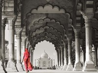 Woman in traditional Sari walking towards Taj Mahal (BW) Fine-Art Print