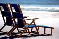 Beach Chairs, Umbrella, Ship Island, Mississippi Fine-Art Print