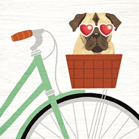 Beach Bums Pug Bicycle I Fine-Art Print