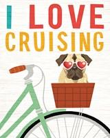 Beach Bums Pug Bicycle I Love Fine-Art Print