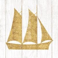 Beachscape V Boat Gold Neutral Framed Print