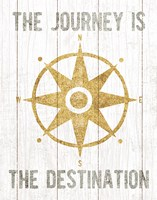 Beachscape IV Compass Quote Gold Neutral Fine-Art Print