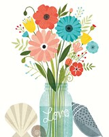 Seaside Bouquet II Mason Jar Fine-Art Print