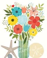 Seaside Bouquet I Mason Jar Framed Print