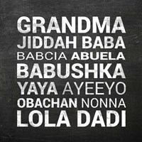 Grandma Various languages - Chalkboard Fine-Art Print