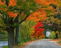 New Hampshire, Andover Autumn color, England home Fine-Art Print
