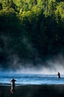 Fly-Fishing in Early Morning Mist on the Androscoggin River, Errol, New Hampshire Fine-Art Print