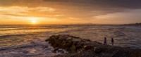 View of Pacific ocean at dusk, Playa Waikiki, Miraflores District, Lima, Peru Fine-Art Print