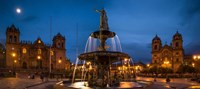 Fountain at La Catedral, Plaza De Armas, Cusco City, Peru Fine-Art Print