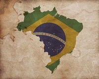 Map with Flag Overlay Brazil Fine-Art Print