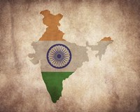 Map with Flag Overlay India Fine-Art Print