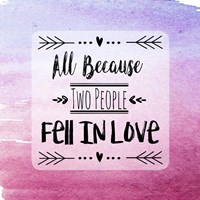 Two People Fell in Love Magenta Ombre Fine-Art Print