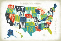 Letterpress USA Map Fine-Art Print