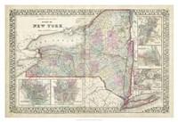 Johnson's Map of New York Fine-Art Print