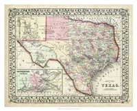 Johnson's Map of Texas Fine-Art Print