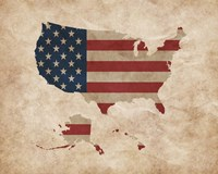 Map with Flag Overlay United States Fine-Art Print