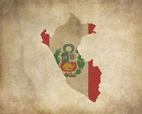 Map with Flag Overlay Peru Fine-Art Print