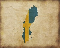 Map with Flag Overlay Sweden Fine-Art Print