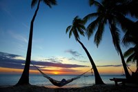 Hammock and sunset, Plantation Island Resort, Malolo Lailai Island, Mamanuca Islands, Fiji Fine-Art Print