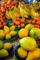 Pawpaw/Papaya, tomatoes and bananas, Sigatoka Produce Market, Sigatoka, Coral Coast, Viti Levu, Fiji Fine-Art Print