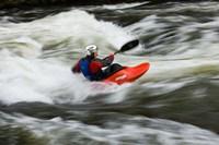 Kayaker plays in a hole in Tariffville Gorge, Farmington River in Tariffville, Connecticut Fine-Art Print
