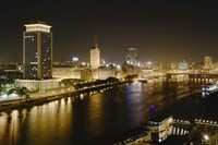 Night View of the Nile River, Cairo, Egypt Fine-Art Print