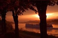 Sunset, Cruise ship, Danube River, Bratislava, Slovakia Fine-Art Print