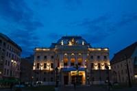 Night view of Bratislava Opera House, Slovakia Fine-Art Print