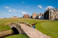 Golfing the Swilcan Bridge on the 18th Hole, St Andrews Golf Course, Scotland Fine-Art Print