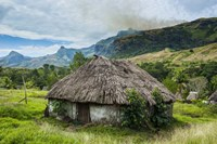 Traditional thatched roofed huts in Navala in the Ba Highlands, Fiji Fine-Art Print