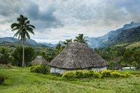 Traditional thatched roofed huts in Navala, Fiji, South Pacific Fine-Art Print
