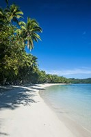 White sand beach and water at the Nanuya Lailai island, the blue lagoon, Fiji Fine-Art Print
