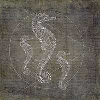 Seahorse Geometric Silver Fine-Art Print