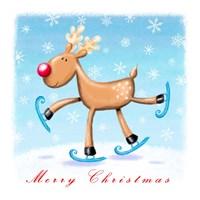 Merry Christmas - Skating Reindeer Fine-Art Print