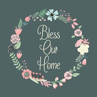 Bless Our Home Floral Teal Fine-Art Print