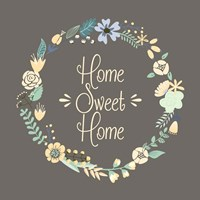 Home Sweet Home Floral Brown Fine-Art Print