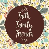 Faith Family Friends Retro Floral White Fine-Art Print