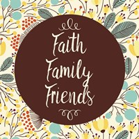 Faith Family Friends Retro Floral White Fine-Art Print