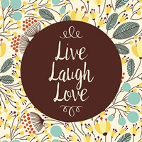 Live Laugh Love Retro Floral White Fine-Art Print