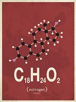 Molecule Estrogene - Red Fine-Art Print