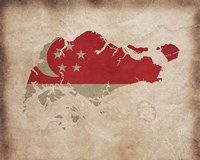 Map with Flag Overlay Singapore Fine-Art Print