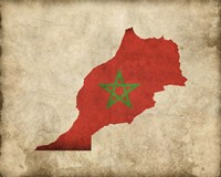 Map with Flag Overlay Morocco Fine-Art Print