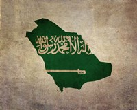 Map with Flag Overlay Saudi Arabia Fine-Art Print